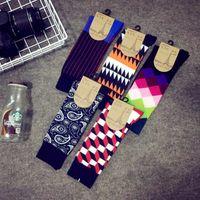argyle beige - Designer mens argyle socks funny long thermal cotton patterned cashmere colorful socks men multi color socks funky socks uk CM