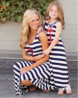 Wholesale 2015 summer style Navy striped mother daughter dresses Sequin Anchor sleeveless long dresses fashion Polyester family look clothes HX
