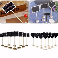 Wholesale 5pcs bag Shapes Wooden Chalkboard Backboard Wedding Party Table Decor Message Number Tag