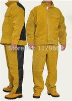 Wholesale COWHIDE JEAN WELDING CLOTHING suits Leather welding suits Wear resistant Insulation welding clothes welding protect clothes