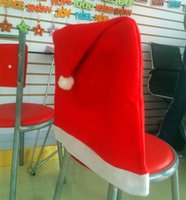 Wholesale Christmas Non Woven Chair Covers Santa Claus Red Hat chair BackCover Warmer Xmas Decoration DHL free Factory Price