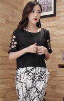 Wholesale Women Clothing Set Summer Short Sleeve Hollow T shirt Tops and Printed Pants Women Piece Set B21