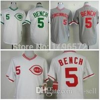 bench shirt - 2015 New Cincinnati Reds Shirt Johnny Bench Jersey White Green Grey Throwback Stitched Authentic Baseball Jersey Embroidery Logo