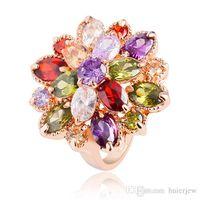 al por mayor juego de bisutería cristal swarovski-Anillos para mujer Anillos de diamantes de compromiso Zirconia cúbicos de joyería de moda Swarovski Anillo de boda conjunto de 18 quilates de oro rosa de piedras preciosas anillos