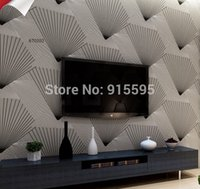 Cheap Coshare Luxury 3D Abstract Lines Strips Art Deep Embossed Flocking Washable Non-woven Wall Covering Paper Texture Tv Wallpaper