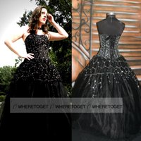 gothic wedding dresses - 2015 Newest Designer Gothic Black Wedding Dresses Sexy Backless Applique Beaded Queen Victorian Halloween Party Evening Bridal Gowns