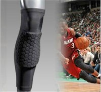 basketball equipment - 2015 Crashproof Antislip Basketball Leg Knee Long Sleeve Protector Gear Honeycomb Pad Sports Equipment FS4895