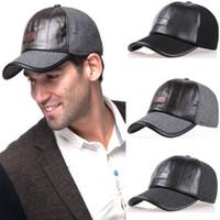 baseball cap protectors - Baseball Cap for Men High Quality Winter Woolen Fabric Leather Patchwork Hat Adjustable Hatband Ear Protector Snapback Cap