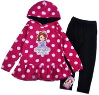 Cheap New Style Winter Girl Princess Sofia The First Fleece Polka Dot Pullover Hoodie coat + Leggings Clothes Sets 4set lot