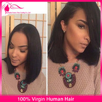 glueless lace wigs - Short Brazilian Hair Wigs For Black Women Natural Color Silk Straight Human Hair Wigs Bob Style Glueless Full Lace Wig With Baby Hair