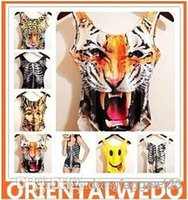 Cheap New women men animal Leopard tiger jumpsuits cat pug panda print funny 3D t shirts Monroe sexy Naked 3d top jumpsuits tees swimwear