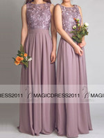 Wholesale Sweetheart Roses Prom Dresses - 2015 Bohemian Beach Lace Bridesmaid Dress Long Backless Dusty Rose Chiffon maid of Honor Dress A-Line Sweetheart Long Prom Evening Gowns