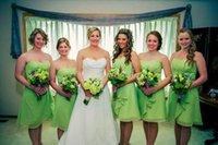 Cheap Lime Green Short Chiffon Cheap Bridesmaid Dresses Vestido De Festa 2015 Pleat A Line Sweetheart Knee Length Simple Cheap Bridesmaid Gown