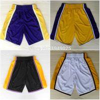 Wholesale Basketball Shorts Kobe Bryant D Angelo Russell Shorts Stitched Black Purple White Yellow Shorts Size M XXL