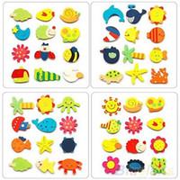 Wholesale 12pcs Colorful Kids Baby Wood Cartoon Fridge Magnet Child Kids Educational Toys KDH