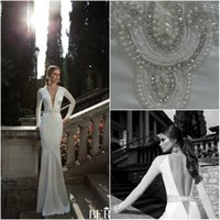 Cheap 2014 Berta Winter bridal Vintage Wedding Dresses Long Sleeve Pearls Deep V Neck Mermaid Backless Bridal Gowns Garden Bride Dress