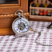 antique silver watches - Vine White Silver Engraved Case Men Mechanical Hand Winding Pocket Watch Necklace Double Open Case Men Women Luxury Gift