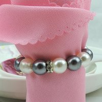 Wholesale Napkin Rings White Gray Pearls Napkin Rings Hotel Wedding Accessories Party Napkin Rings Weddings GX863