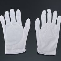 Cotton active inspection - Women Men Working Gloves White Cotton Blended Mitts Driver Jewelry Parades Inspection Magician Police Glove Pair New