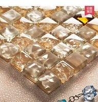 Wholesale KASARO Ice crystal glass mosaic tile bathroom Mediterranean style backdrop puzzle
