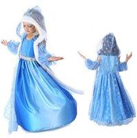 Cheap girls hooded frozen elsa blue snow dress frozen hooded dress hooded cape costume frozen dress elsa frozen princess frozen elsa fancy dress