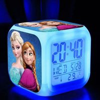 Wholesale Frozen LED Colors Change Digital Alarm Clock Frozen Anna and Elsa Thermometer Night Colorful Glowing Clock