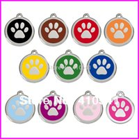 Wholesale DHL Freeing Shipping Pet Products MM Glitter Paw Shaped Tag Pet ID Tag Zinc Alloy Custom Dog Name Tags