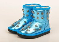 baby boot charm - 2016 Whole sale Baby Kids Children cute Warm Winter Snow Shoes PU Boots FOR age