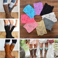Wholesale Stretch Lace Boot Cuffs Women GIRLS LEG WARMERS Trim Flower Design Boot Socks Knee Colors