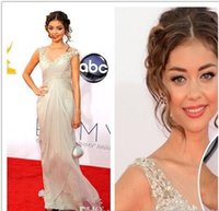 apple halloween costumes - Customized Modern Family Sarah Hyland Long Evening Dresses Chiffon Beaded V Neck th Emmy Awards halloween costumes prom dresses bridal