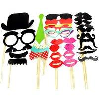 Envío Gratis 32PCS Nueva DIY Máscaras Photo Booth Atrezzo Bigote en un cumpleaños del palillo de la boda del partido-PY orden $ pista 18Nadie