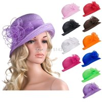 Wholesale A267 Solid Color Womens Summer Organza Bowler Sun Hat Kentucky Derby Tea Party