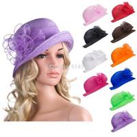 tea party hats - A267 Solid Color Womens Summer Organza Bowler Sun Hat Kentucky Derby Tea Party