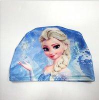 Wholesale 100pcs Frozen Swimming Hat Elsa Anna Elasticity Cap Swimming Hats Kids Cartoon Cotton Swimming Hat Children s Bath Caps Swimming Hat BF