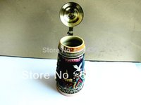 beer stein lids - New French Colmar Ribeauville Ceramic Beer Stein With Pewter Lid cm Tall Drinkware Handcrafts