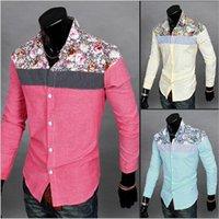 Wholesale New Brand Mens Flowers Shirts Casual Slim Fit Long Sleeve Good Quality XL Mans Dress Shirts SIZE M XL