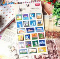 Wholesale Bronzing Paper Stamps World Style Designs Sticker Decoration Label Multifunction