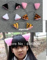 band mascots - COSplay black pink white cat ear hair band Headband Children Day performance mascot headband MOQ