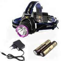 Wholesale Purple CREE XML T6 LED Headlamps Fashion Portable LED Head Lights Zoom In Switch Modes Design White Emitting Colors Hot Sale