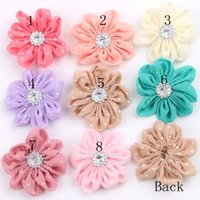 plastic hair comb - 2015 Crystal Fabric Chiffon Flowers For Headbands Colors Handmade Dot Floral Photograph Prop Hair Accessories