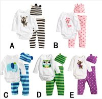 Wholesale Animal Infants Baby Rompers Bodysuits Boys Girls Long Sleeve Cartoon Romper Hat Pants Set Cotton New Born Babys Clothing colors K2588
