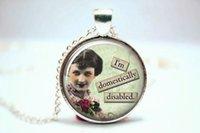 alloy domestic - 10pcs Retro Sassy Quote Sarcastic Woman Domestic Glass Necklace