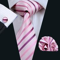 Conjunto de corbata de seda rosa Tie Hanky Corbatas de hombre Jacquard tejido de negocios conjunto informal Corbatas N-0228