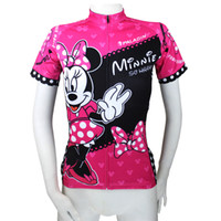 Wholesale 096 Minnie Mouse Pink Dazzle Women Short Sleeve Cycling Jersey Bike outlet ciclo Jersey Plus Size maillot Geniune Paladin