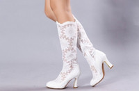 Wholesale White Lace Wedding Boots cm cm High Heel Bridal Shoes About Knee Length Party Prom Women Shoes shoes