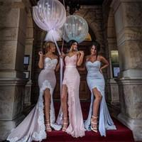 Wholesale Split Mermaid Bridesmaid Dresses Cheap Long Sweetheart Lace Appliques Split Evening Dresses New Fashion Spring Beach Prom Dress