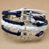 Wholesale Braid Bracelet Multilayer Creative Personality Handmade Infinity Anchor Rudder Antique Silver Pendant Bracelet L10138 order lt no tracking