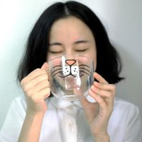 anime cat mug - Novelty oz Cute Cat Kitty Nose Glass Coffee Cup Home Decoration Anime Transparent Glass Mug