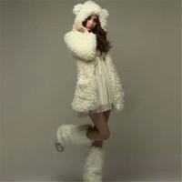 bear ear hoodie men - Autumn Winter Women Jacket Hoodies New Korean Style Teddy Bear Rabbit Ears Sweatshirt Hooded Coat Outerwear Beige Black