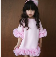 plain clothing - 2015 Summer Children Short Sleeve Princess Dress Girl Flower Dress Kids Pink Plain Dress Children Clothing Dresses DEBF2